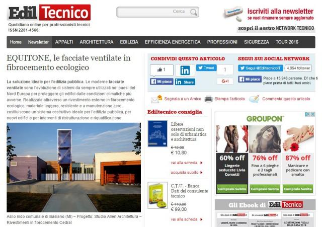 Equitone in evidenza su ediltecnico.it